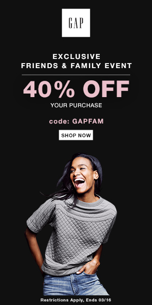 Gap 40% off Coupon Code Friends and Family