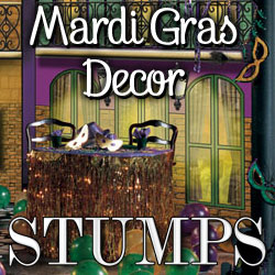 Mardi Gras Decorations at Stumps Party!