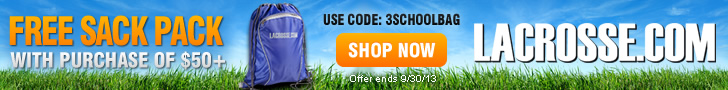 Free sack pack with any purchase of $50 or more at Lacrosse.com!* Use promo code 3SCHOOLBAG.