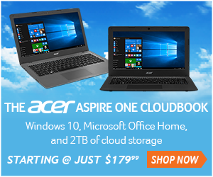Acer Cloudbook starting at just $179.  View models now.