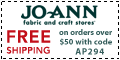 Free shipping at Joann.com!  Code:  FEBFSA725
