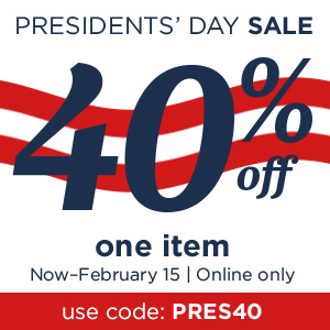 40% off one item with coupon code PRESIDENTS