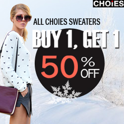 Choies Sweaters Sale. Buy 1, get 1 50% off. Free shipping worldwide. Ends 12/23/2013