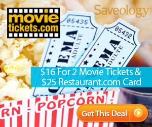 2 Movie Tickets & $25 Restaurant.com