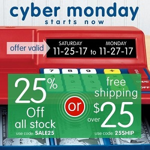 CYBER MONDAY STARTS NOW SALE! 25% Off All Stock Using Code: SALE25 OR Free Shipping On Orders!