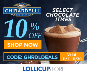 Taste the savings! Use promo code GHRDLDEALS and take 10% off all Ghirardelli products.