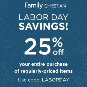 25% off entire purchase of regularly-priced items with coupon code LaborDay