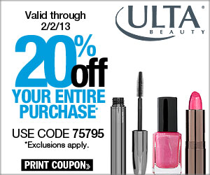 Valid through 2/2/13 - 20% Off Your Entire Purchase! Use code 75795, exclusions apply.