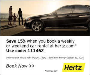 Save 15% when you book a weekly or weekend car rental at Hertz.com! Use code: 111462. Offer valid fo
