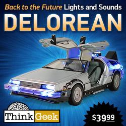 Back to the Future banner - the Delorean