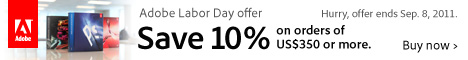 Adobe 10% off orders of $375 or more!