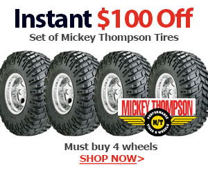 Purchase 4 Mickey Thompson tires and qualify for $100 back through mail in rebate