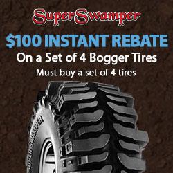 Get an INSTANT $100 OFF Super Swamper Bogger Off-Road Tires