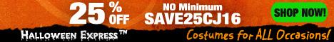 25% NO Min at Halloween Express!