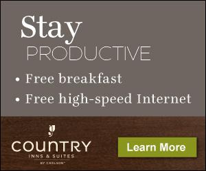 Country Inns & Suites fournit des niveaux élevés de service et de satisfaction pour leurs clients. Leur breakfast à une atmosphère idéal pour les affaires et le plaisir, vous allez adorer tous les bonnes raisons de dormir chez eux. La marque Country Inns & Suites exploite actuellement plus de 470 hôtels à travers le monde, principalement aux États-Unis, le Canada, l'Inde et le Mexique.