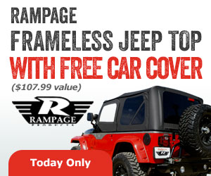 Buy your Jeep a select Framless Top from Rampage and get a free car cover.