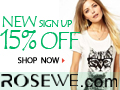 15% off first order at Rosewe.com Sitewide.