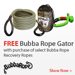 Free Gator Jaw when you purchase select Bubba Rope products.
