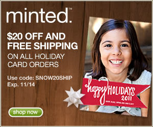 $20 off and free shipping on all holiday cards