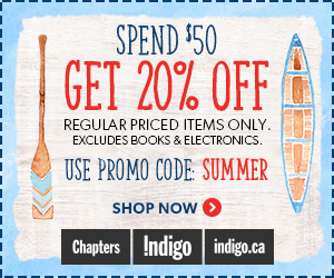 Spend $50 Get 20% Off Regular Priced Items at Indigo.ca! Excludes Books & Electronics.