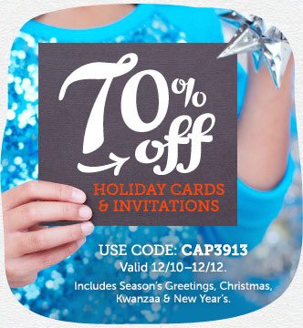 Affiliate Exclusive! 70% off Holiday Cards and Invites at Cardstore! Use Code: CAP3913, Valid throug