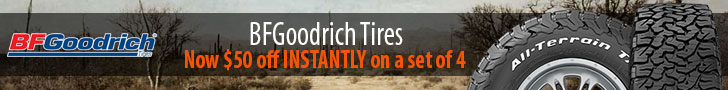 $70 off INSTANTLY on BFG All-Terrain T/A tires ends 2/1