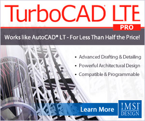 TurboCAD LTE Pro - innovative 2.5D CAD that works like AutoCAD LT, at about half the price.