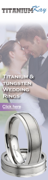 Titanium, Tungsten and Gold Wedding Band Rings
