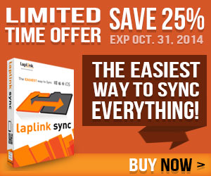 Synchronize files and folders across all your devices with Laplink Sync! Get 25% off