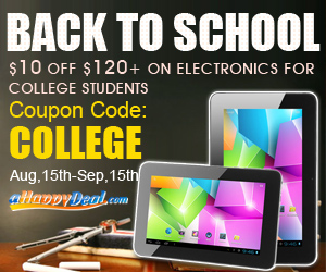 Back to College Sale: $120-$10 for Electronic Products with Coupon Code: COLLEGE, Aug, 15th-Sep,15th