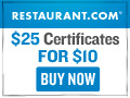 Restaurant.com: $25 for $4 and $10 for $1.60!