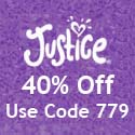 Get 40% off at Justice and get a $25 Fun Card for every $50 you spend!