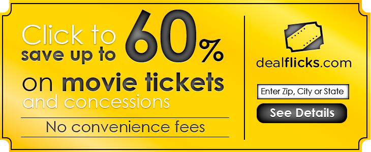 Save up to 60% on movie tickets