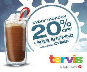 20% off + Free Shipping on every order at Tervis.com Cyber Monday only with code CYBER