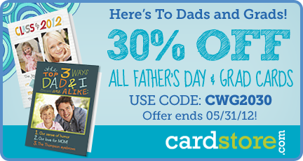 30% off All Father's Day & Graduation Cards at Cardstore.com!