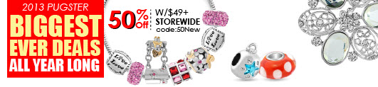 Pugster Jewelry Biggest Ever Deals All Year Long, Storewide W/$49+ Code: 50New