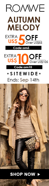 Save up to $10 off at ROMWE.com.  Click for details – sale ends 9/14