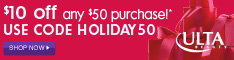 $10 off $50 with code HOLIDAY50 10/31-12/25