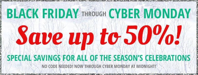50% Off Black Friday thru Cyber Monday!