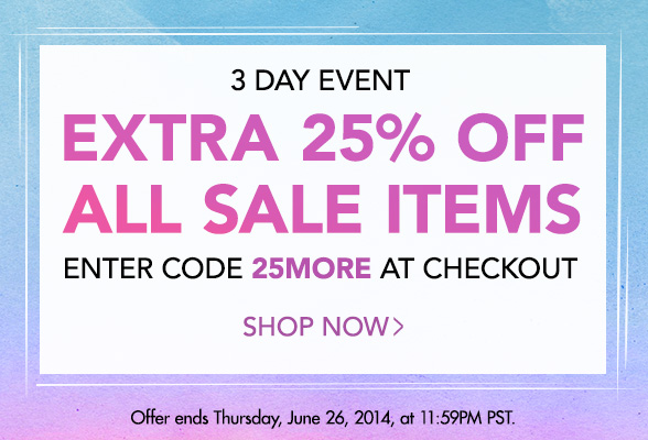 3 Days Only: Extra 25% off All Sale Items with code 25MORE