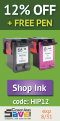 12% off ink plus a free pen when you use coupon code HIP12 at CompAndSave.com.