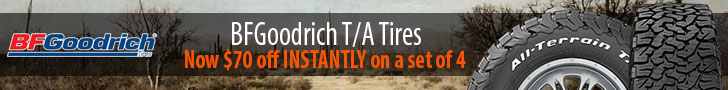 $70 off INSTANTLY on BFG All-Terrain T/A tires