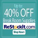 40% OFF Breakroom Supplies at Restockit.com