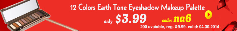$3.99 on 12 Colors Earth Tone Eyeshadow Makeup Palette. Coupon: na6