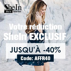 40% de réduction à fr.shein.com avec FRonly40 code de coupon - se termine 17/5