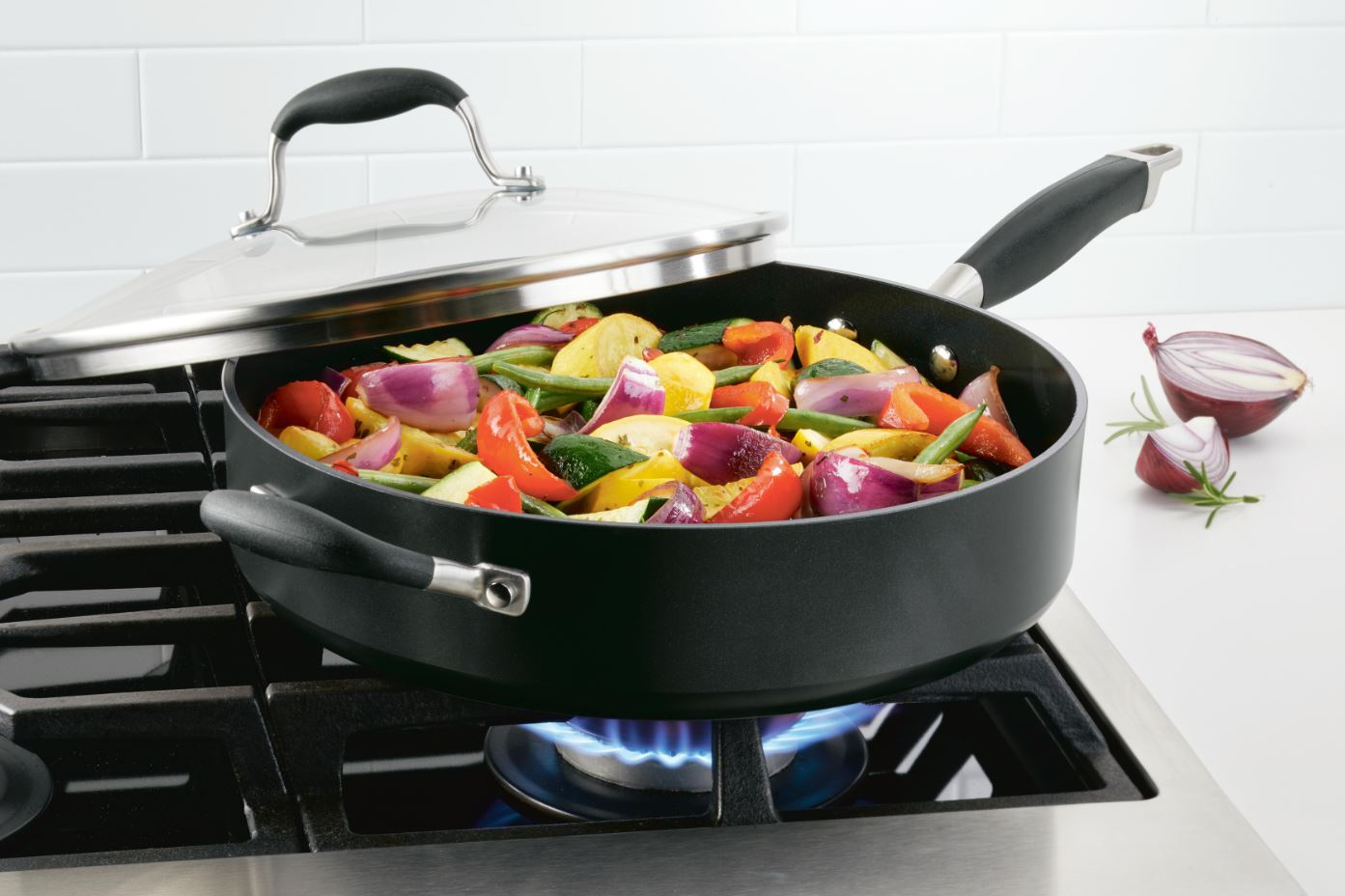 Anolon Advanced Home Saute Pan with Veggie Stir Fry in Onyx