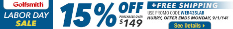 Get 15% off orders of $149 or more plus free shipping with code WEB435LAB at Golfsmith.com! Offer en