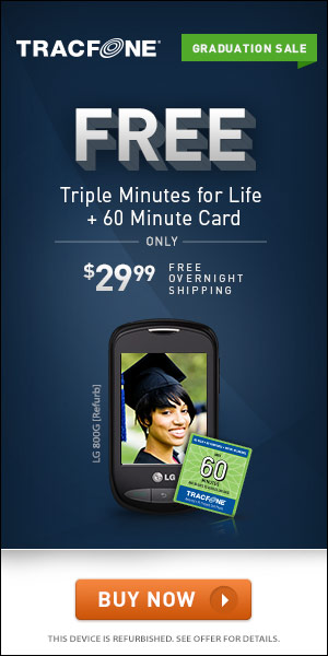 Free Overnight Shipping and Triple Min For Life with the LG 800G from TracFone
