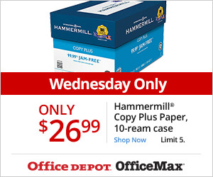 Wednesday 11/18 Only!  $26.99 Hammermill Copy Plus, 10-Ream Case; Limit 5