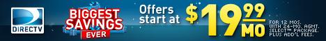 DIRECTV Biggest Savings Ever - $19.99/mo